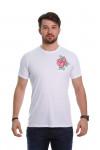 Camiseta Flor Bordada Branca