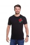 Camiseta Flor Bordada Preta