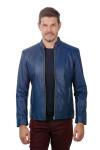 Jaqueta de Couro Slim Azul